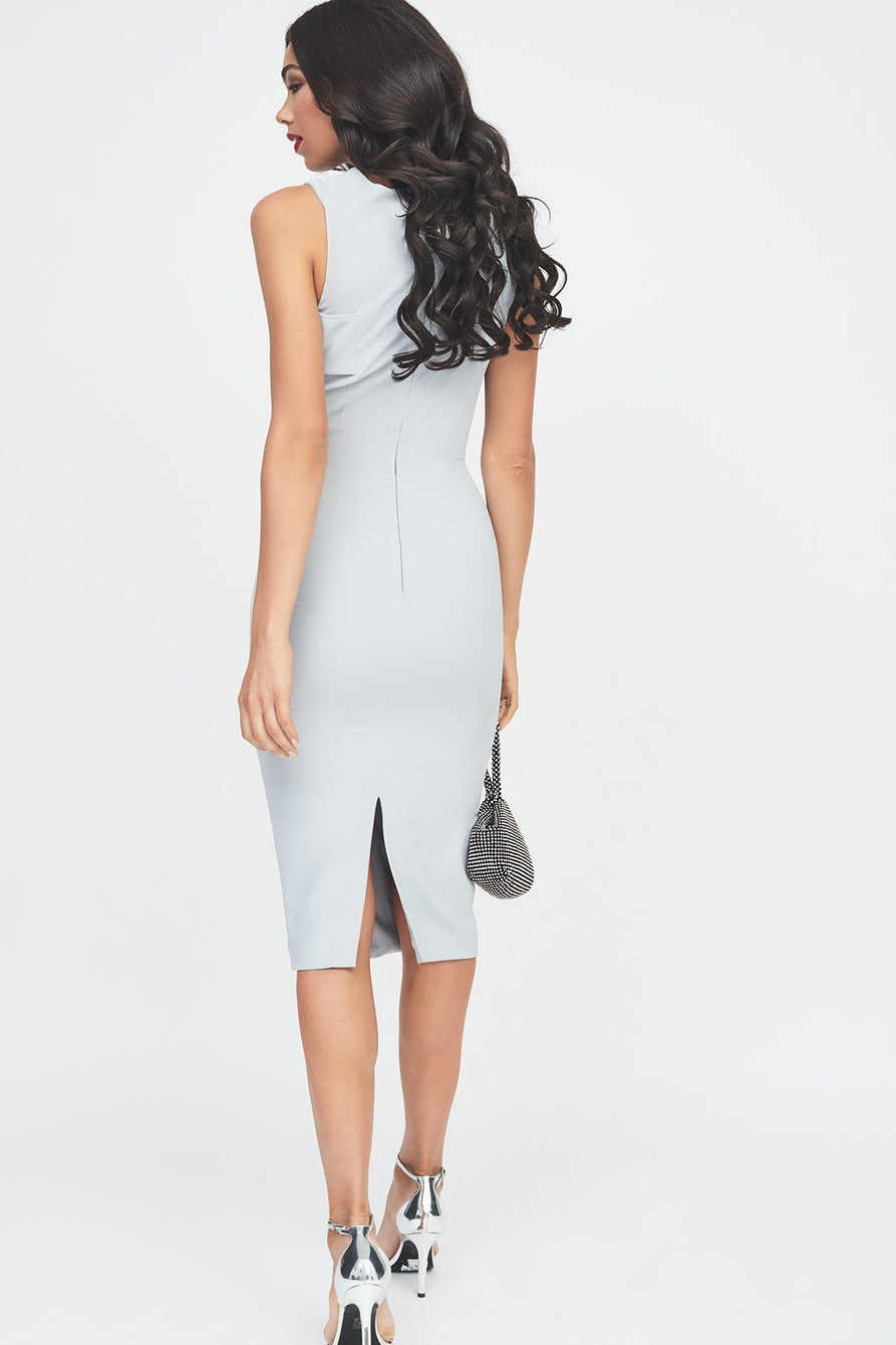 Cut-Out Drape Midi Dress in Grey