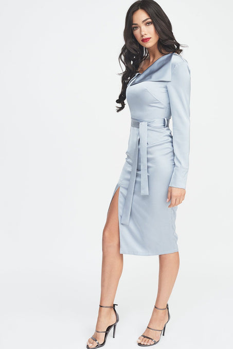 One Shoulder Satin Shirt Dress