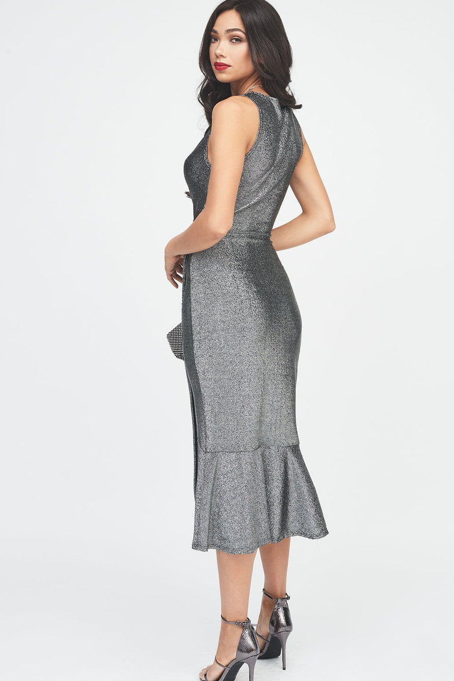 Wrap Tiered Drape Front Dress in Metallic Knit