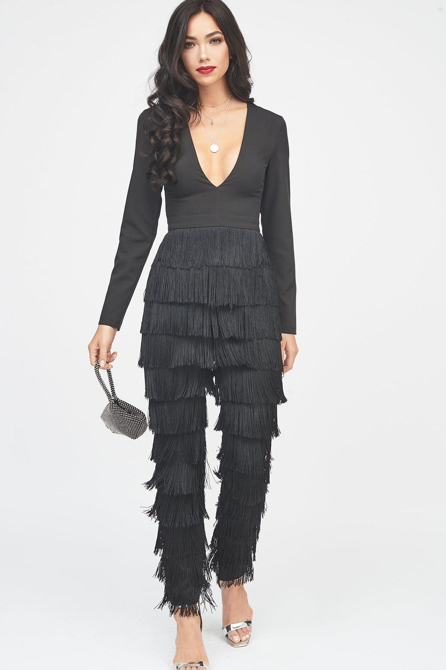 Fringe Jumpsuit in Black
