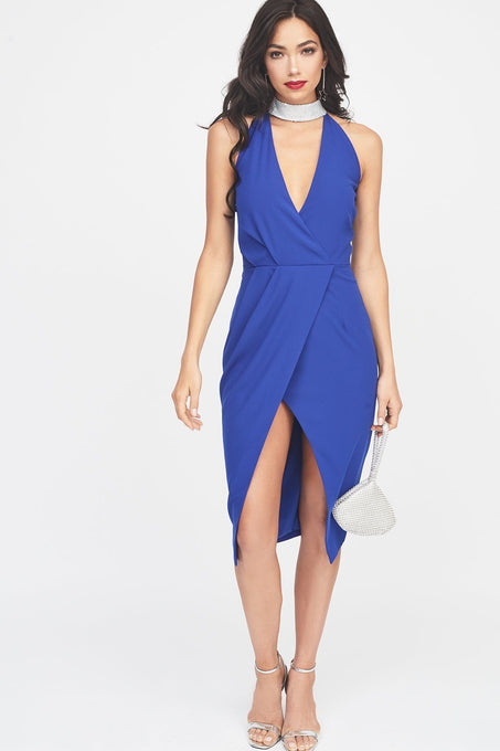Silver Iridescent Sequin Choker Neck Wrap Midi Dress in Cobalt Blue