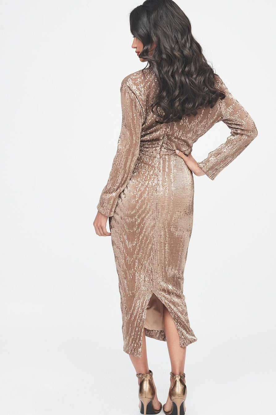Pleated Sequin Ruched Side Midi Dress in Gold