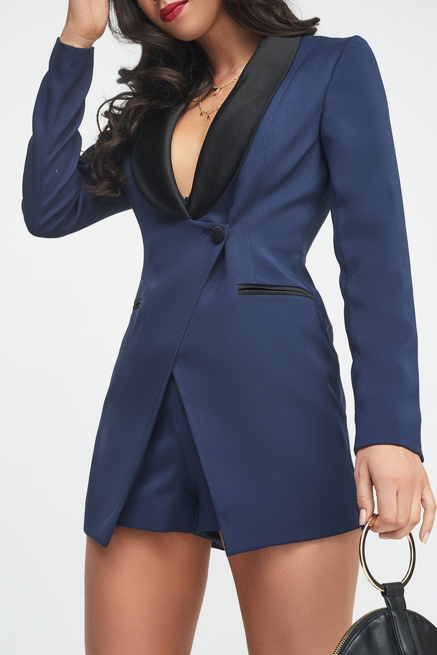 3b81dda2ea Navy Tuxedo Jacket Playsuit with Black Satin Lapel – Lavish Alice