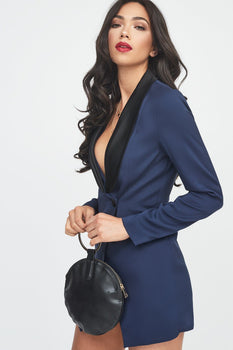 Navy Tuxedo Jacket Playsuit with Black Satin Lapel