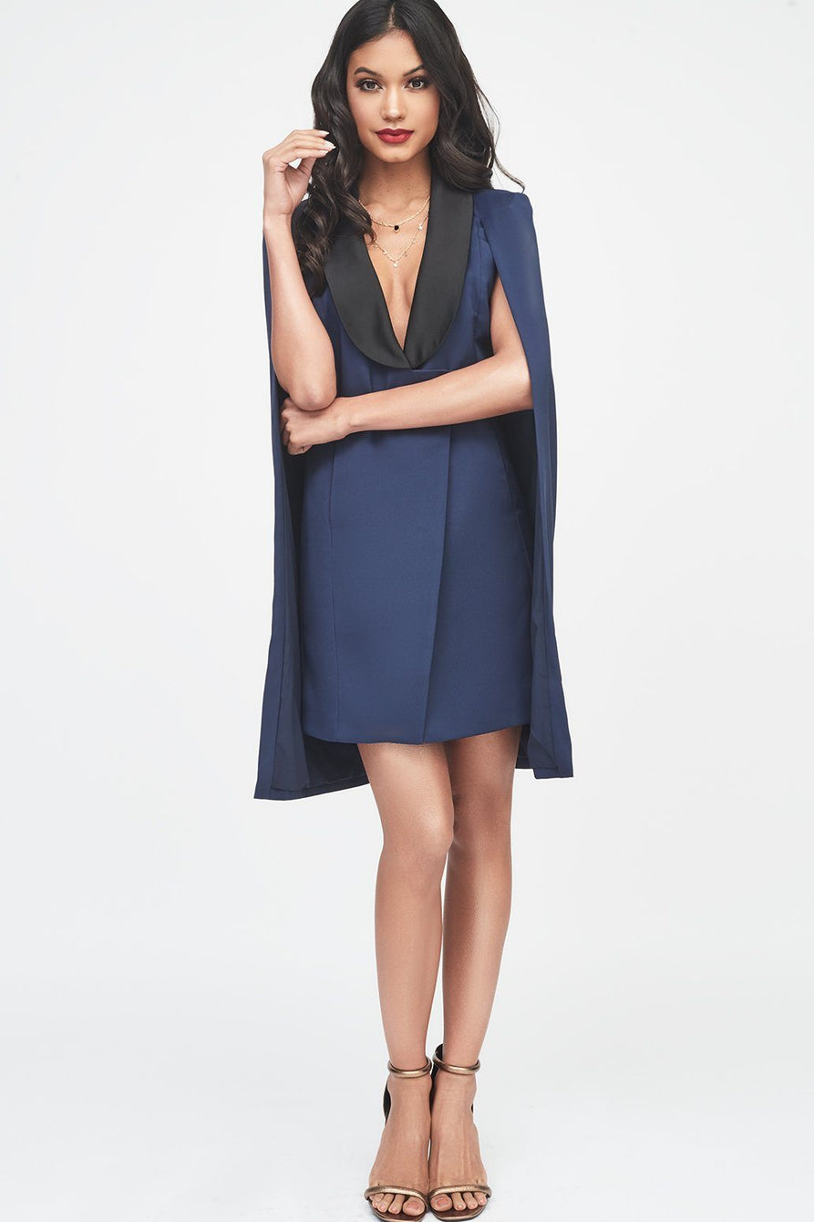 Navy Tuxedo Cape Dress with Contrast Black Satin Lapel