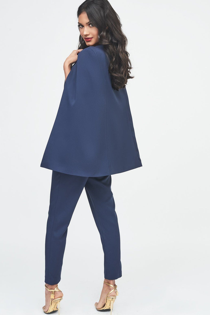 Tailored Cape Jumpsuit with Storm Flap in Navy