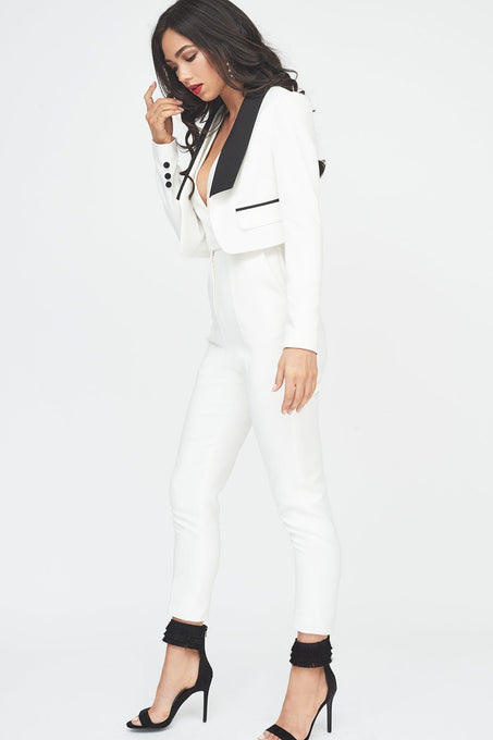 White Cropped Blazer Jumpsuit with Black Lapel