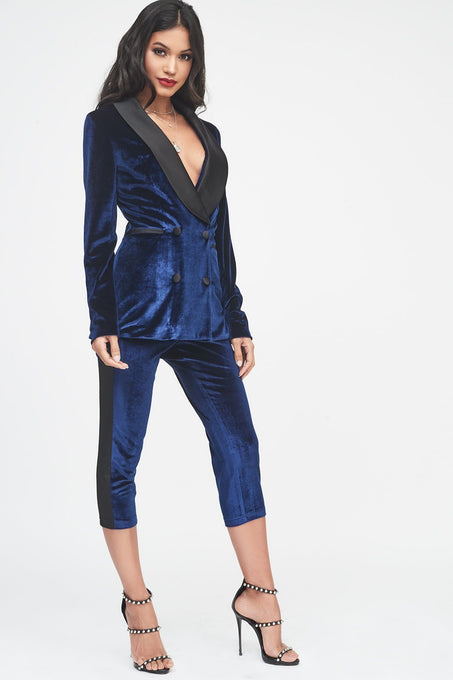 Navy Velvet Longline Blazer with Satin Lapel