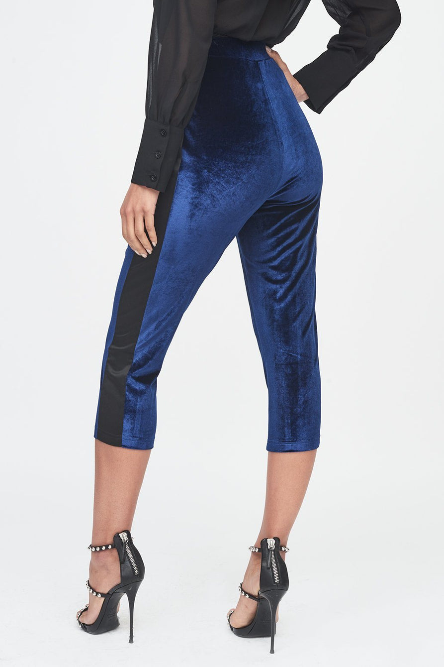 Navy Velvet High Waisted Cropped Trouser with Satin Stripe