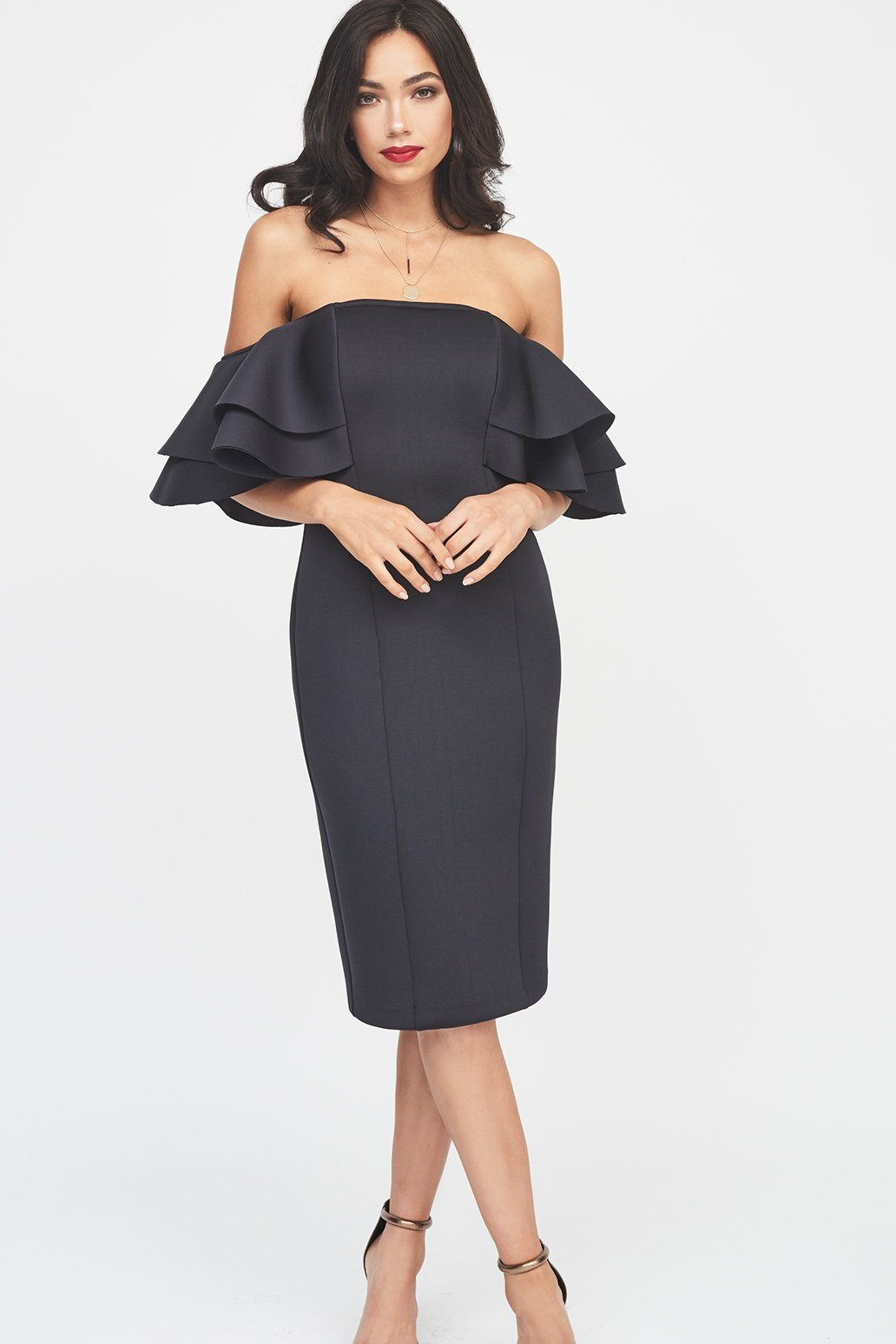 Signature Double Frill Sleeve Scuba Dress