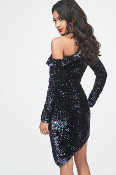Sequin Velvet Off The Shoulder Mini Dress in Blue