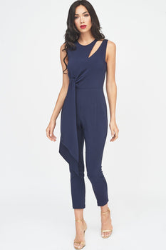 Tapered Jumpsuit with Draped Side Tie Detail