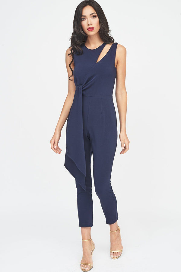 8b262f05427 Tapered Jumpsuit with Draped Side Tie Detail ...