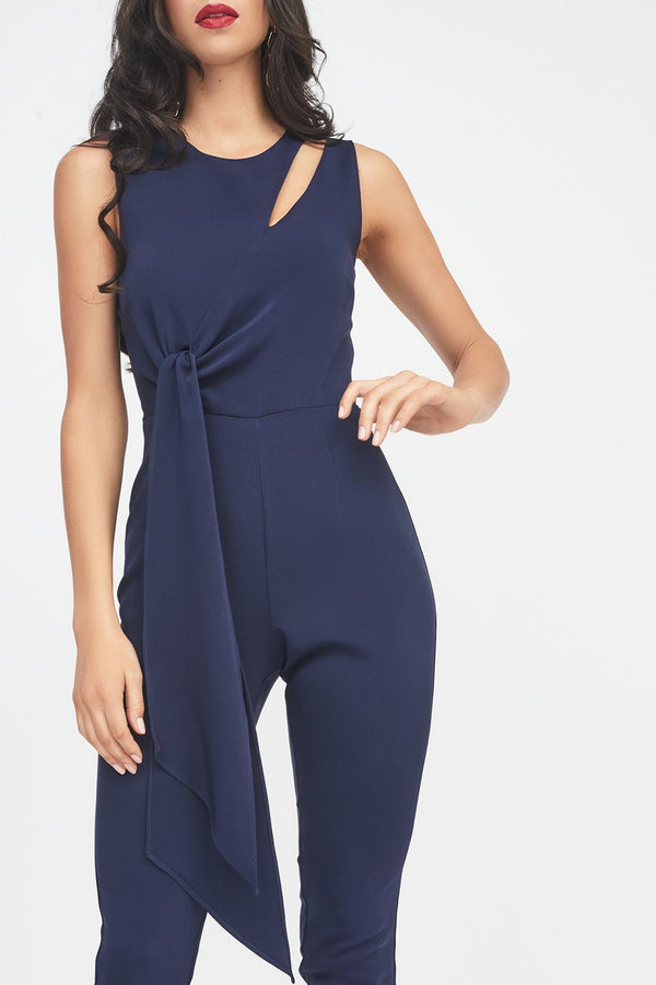 19d2f3bef3f ... Tapered Jumpsuit with Draped Side Tie Detail