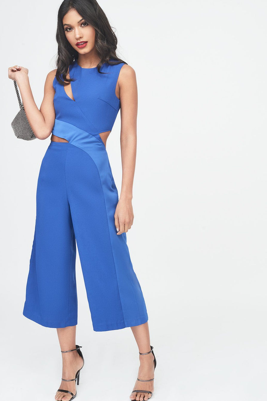 Satin Panel Cutout Culotte Jumpsuit in Cobalt Blue