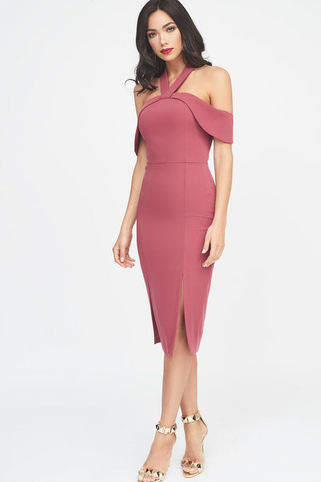 Halterneck Bardot Midi Dress in Rose