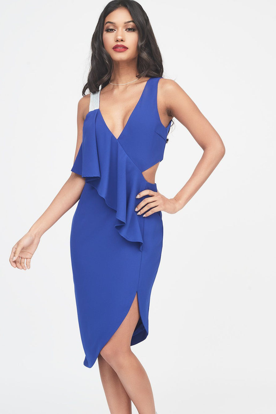 Iridescent Silver Sequin Strap Frill Midi Dress in Cobalt Blue