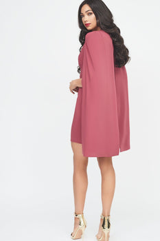 Fitted Cape Mini Dress in Rose