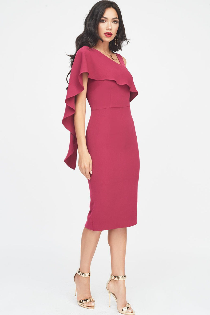 Asymmetric Draped Midi Dress in Pink