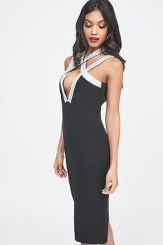 Iridescent Silver Sequin Cross Over Strap Midi Dress in Black