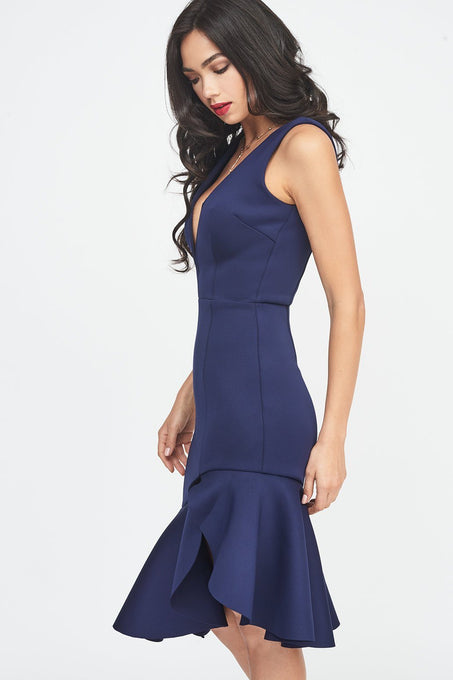 V Neck Plunge Scuba Midi Dress in Midnight Blue