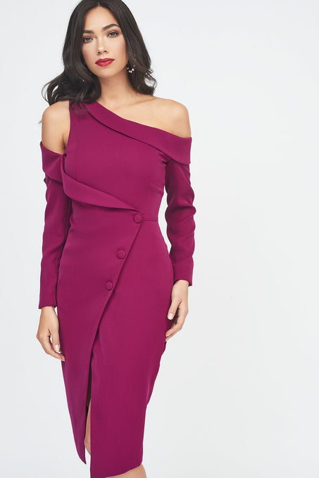 Off The Shoulder Long Sleeve Tuxedo Midi Wrap Dress in Purple