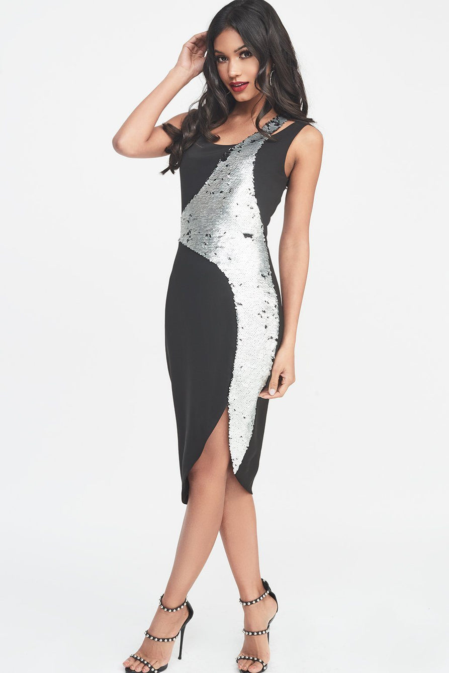 Reverse Silver & Black Sequin Double Layer Midi Dress in Black