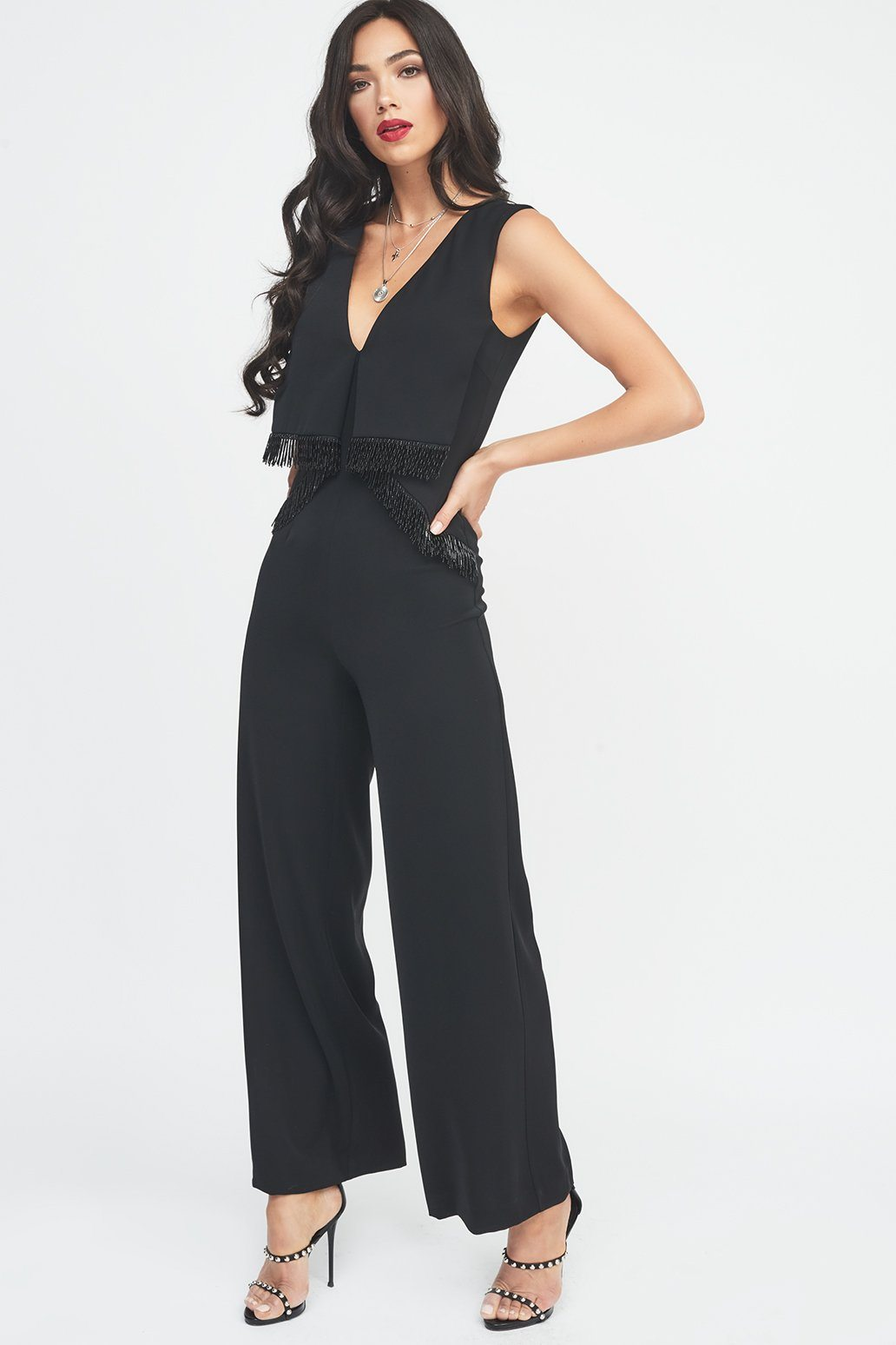Origami Wide Leg Jumpsuit with Beaded Trim in Black