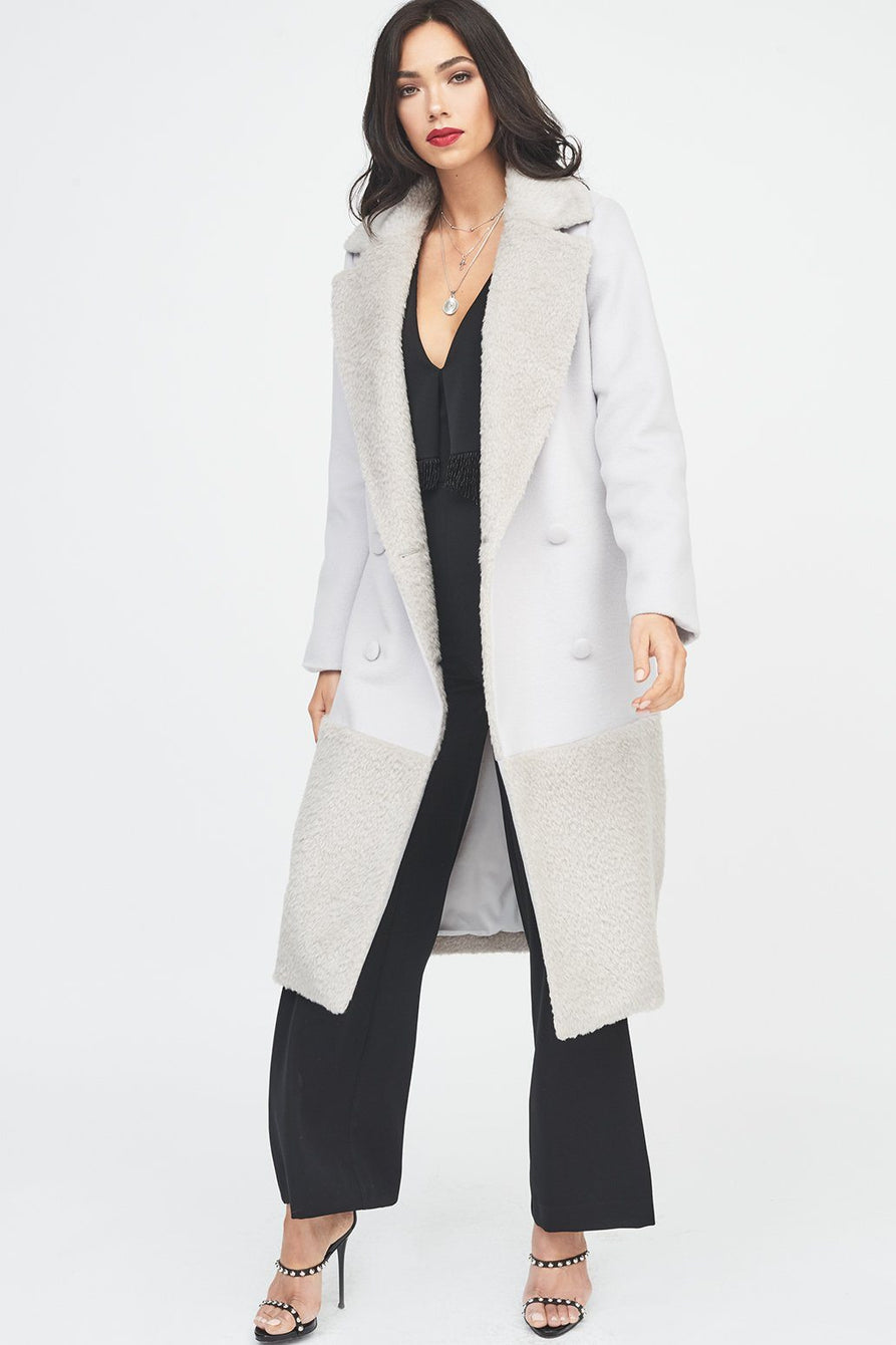 Double Breasted Wool Coat with Fur Panelling