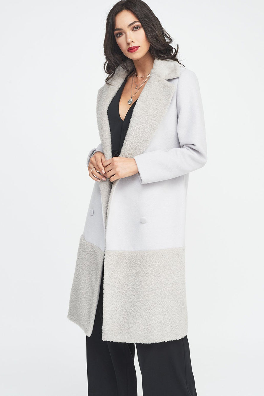 Double Breasted Wool Coat with Faux Fur Panelling