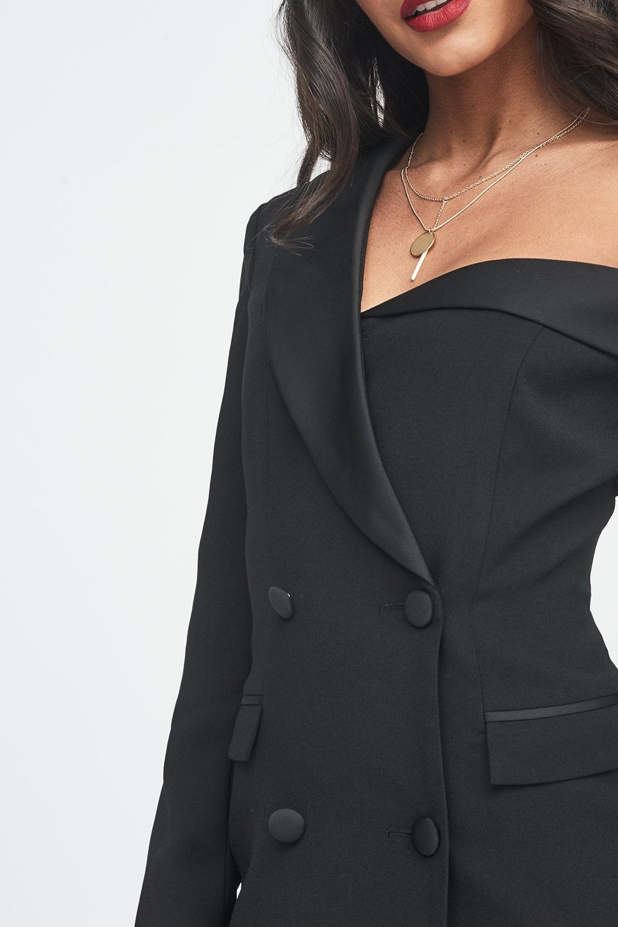 Off The Shoulder Tuxedo Mini Dress with Satin Lapel in Black