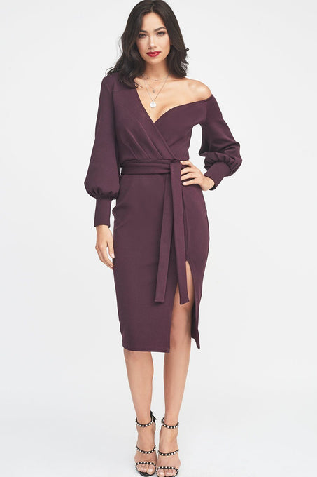 One Shoulder Balloon Sleeve Rib Knitted Dress in Purple