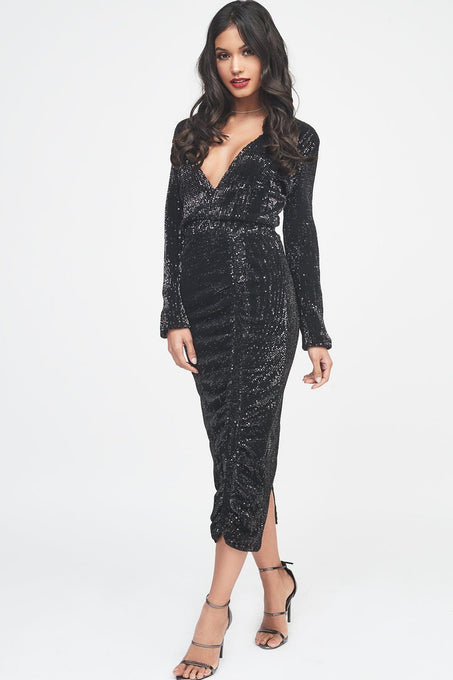 Pleated Sequin Ruched Side Midi Dress in Black