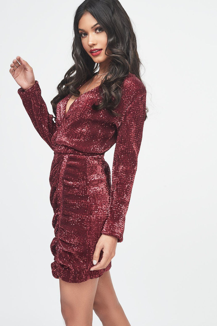 Pleated Sequin Mini Dress in Burgundy