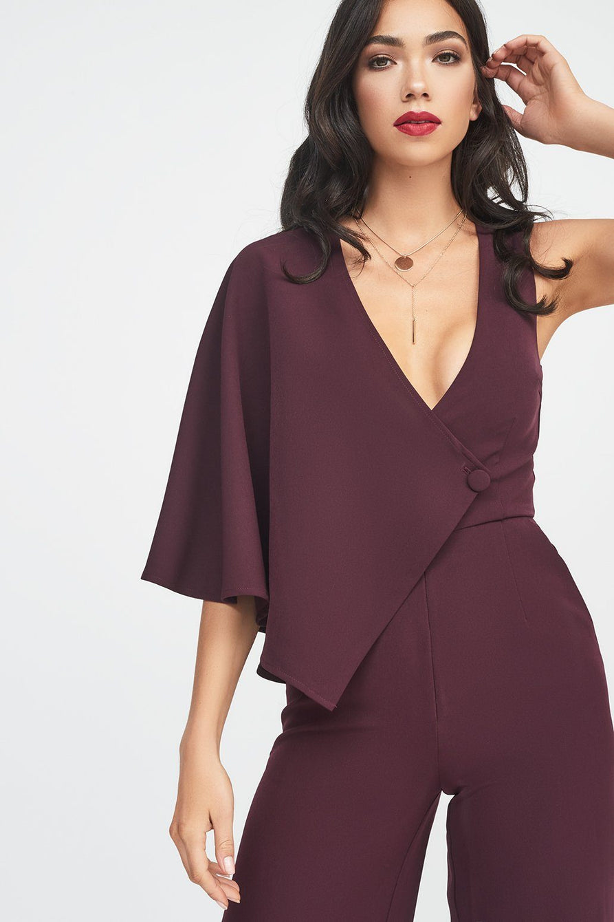 Draped Sleeve Wide Leg Jumpsuit in Deep Purple