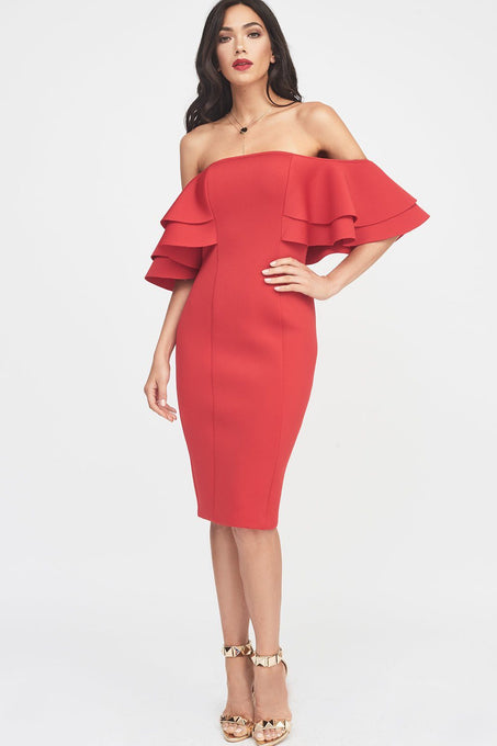 Signature Double Frill Sleeve Bardot Scuba Dress