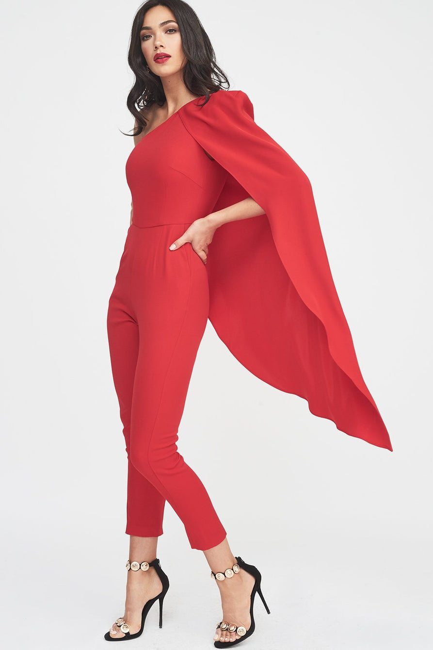 One Shoulder Cape Tailored Jumpsuit in Red