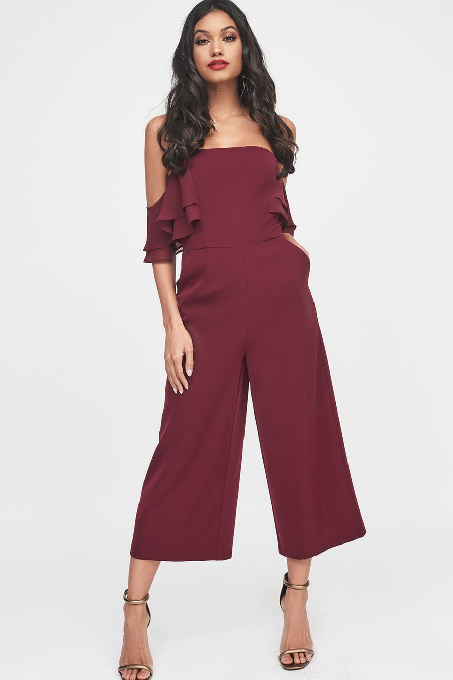 Double Tiered Chiffon Mix Off The Shoulder Culotte Jumpsuit