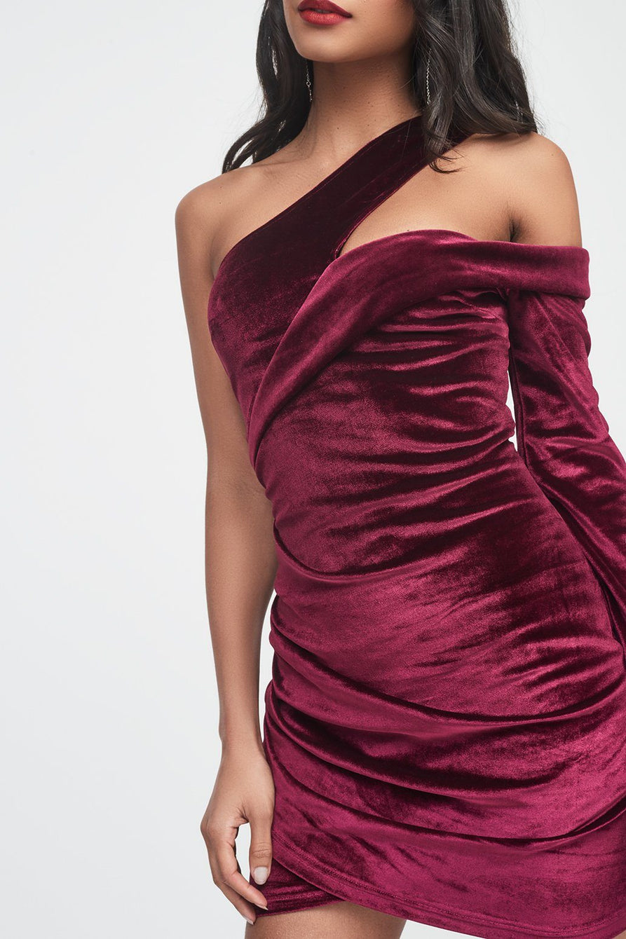 Velvet Cut Out Shoulder Gathered Wrap Mini Dress in Plum Purple
