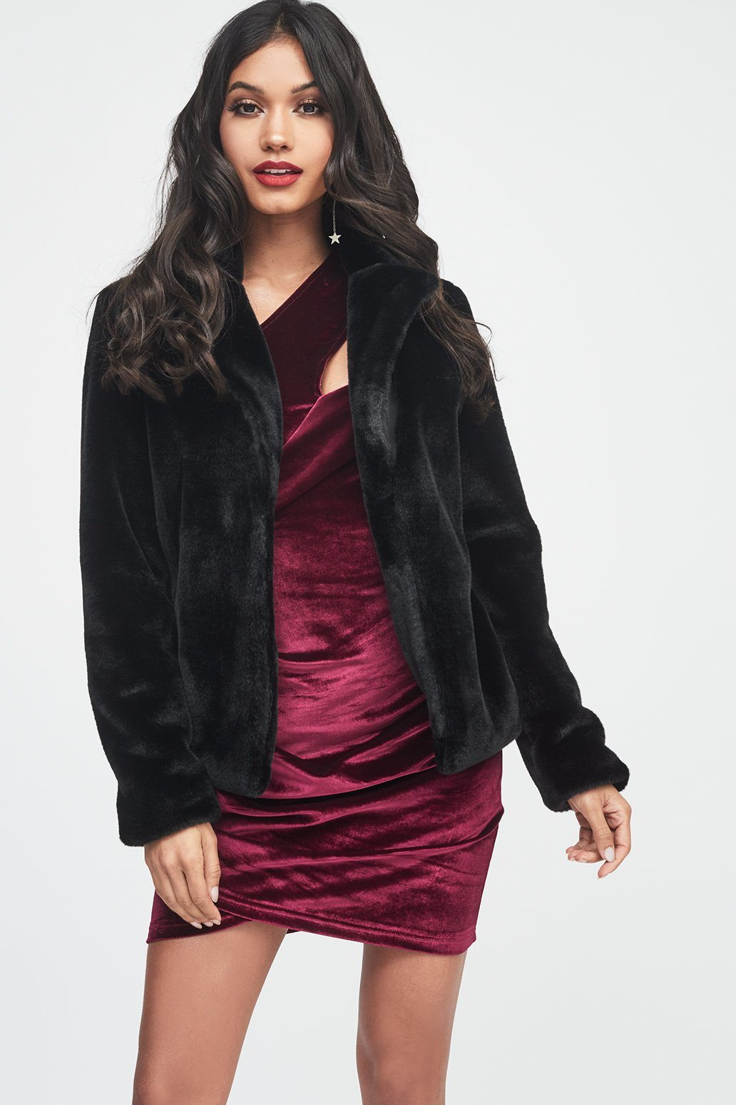 Shorthair Faux Fur Jacket in Black