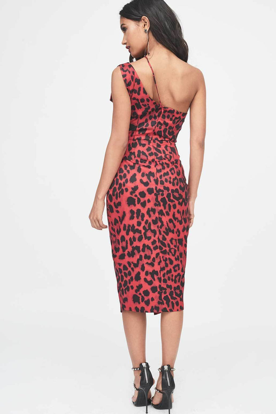 One Shoulder Cutout Midi Wrap Dress in Red Leopard