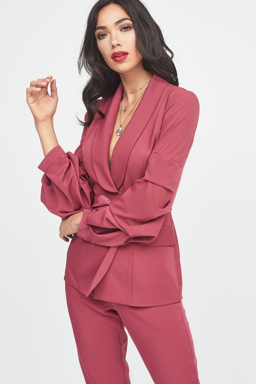 Gathered Sleeve Blazer Jacket in Rose