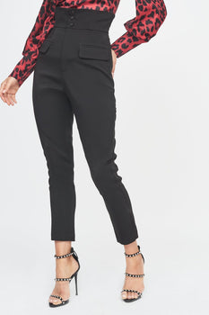 High Waisted Satin Button Tailored Trouser in Black