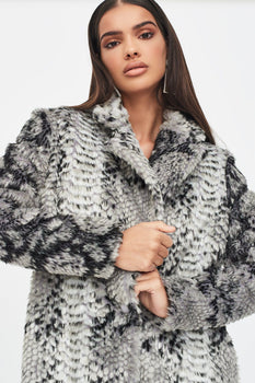 Oversized Collar Faux Fur Coat in Snake Print