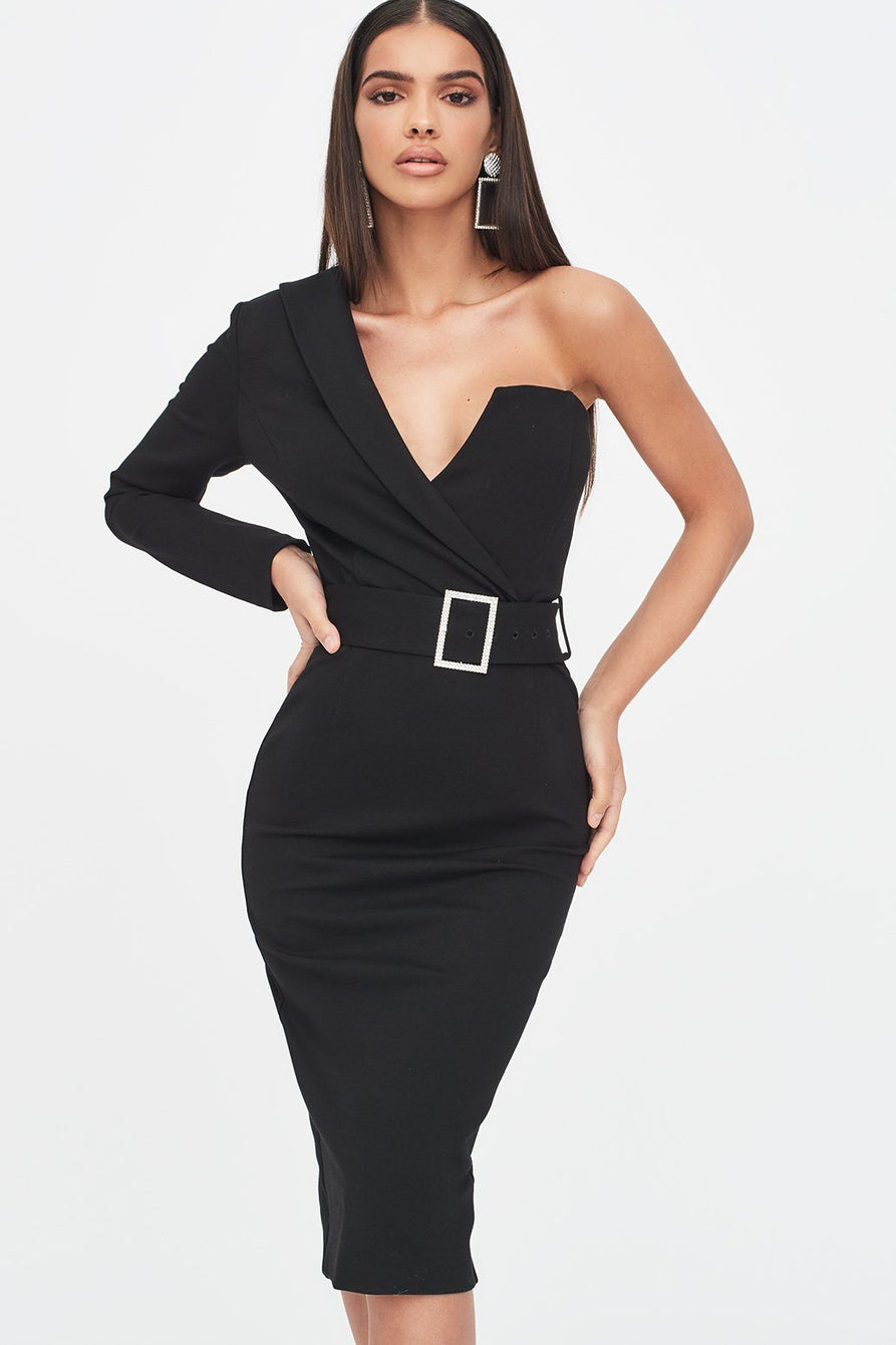 One Sleeve Tux Midi Dress in Black