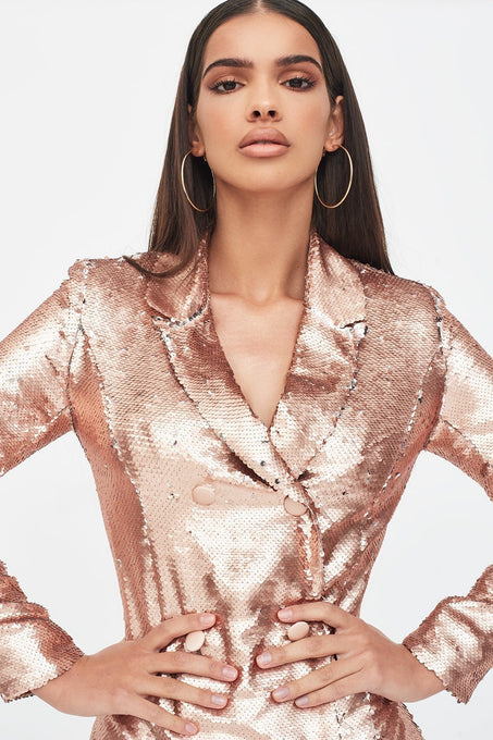 Blazer Dress in Gold Sequin
