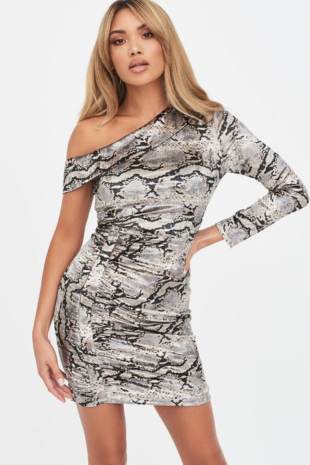 Velvet One Shoulder Mini Dress in Snake Print