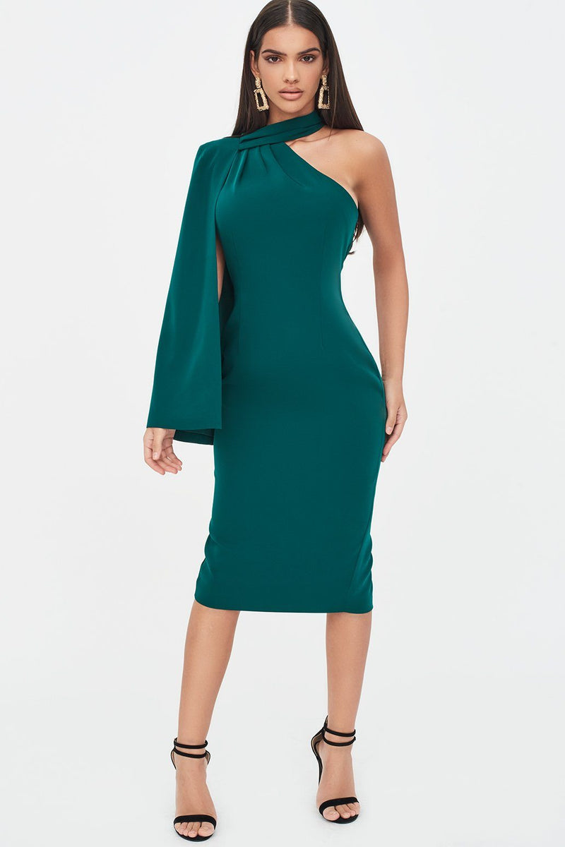 One Shoulder Cape Midi Dress in Emerald Green