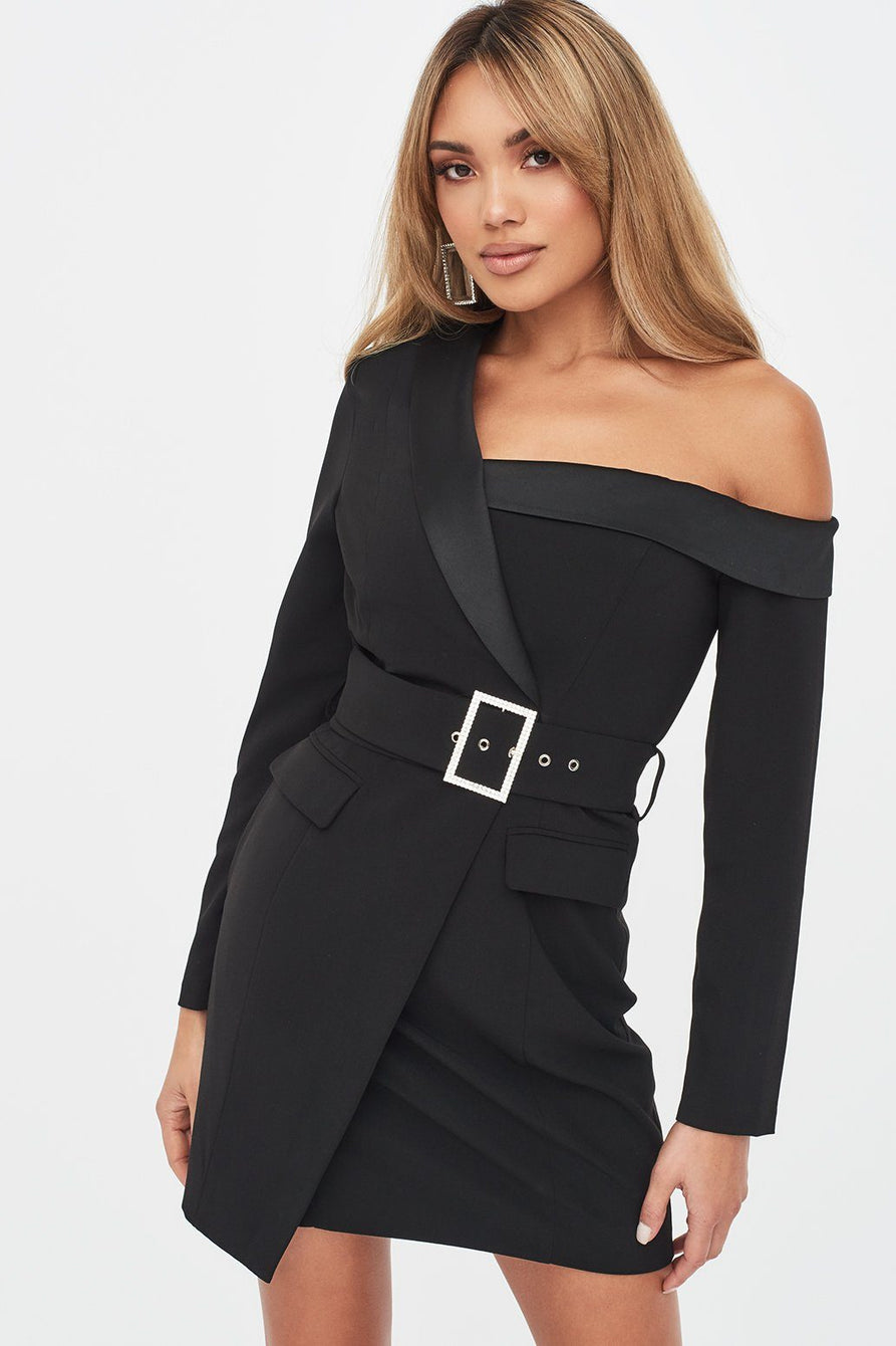 Off Shoulder Tux Mini Dress in Black