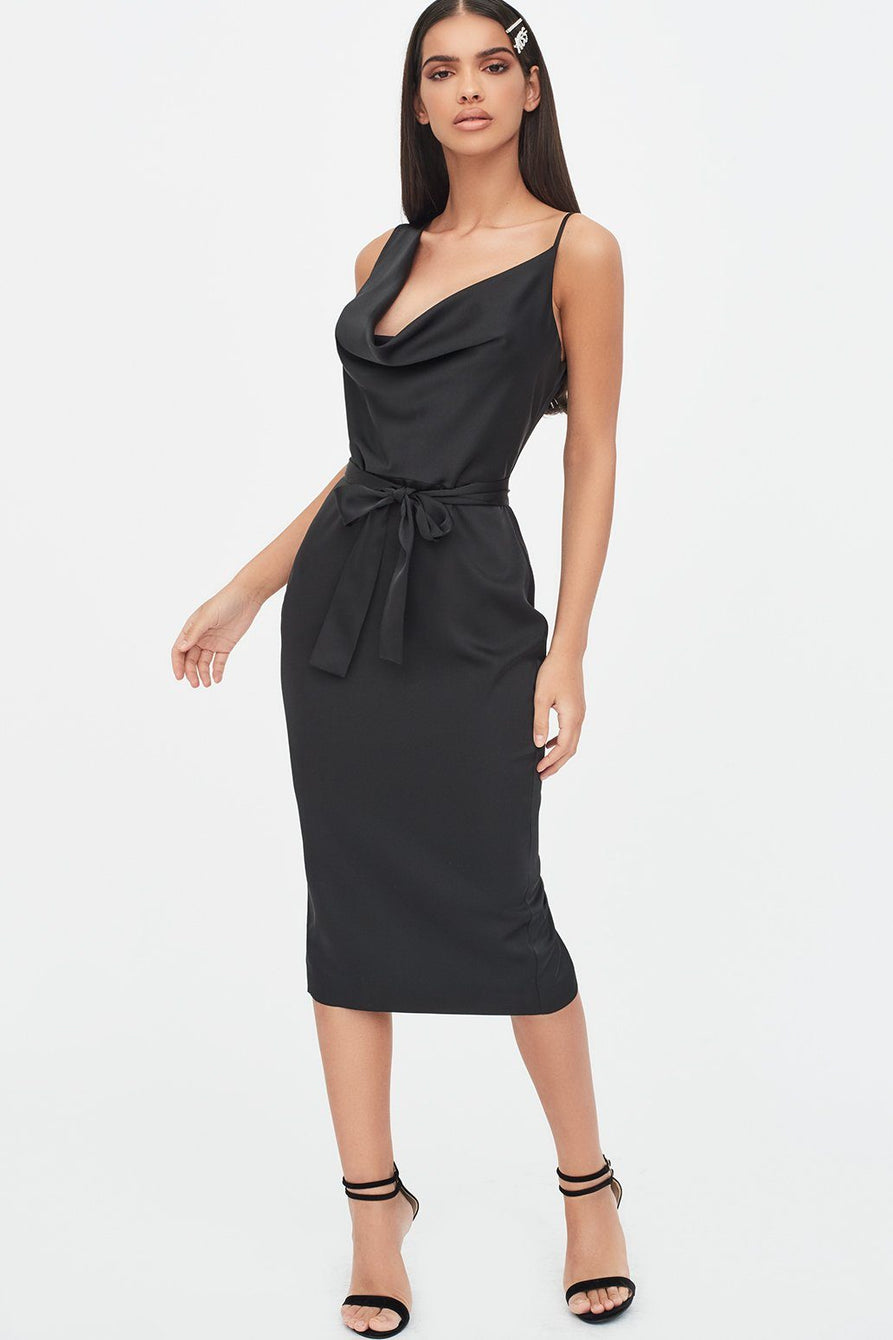 Satin Cowl Neck Midi Dress in Black